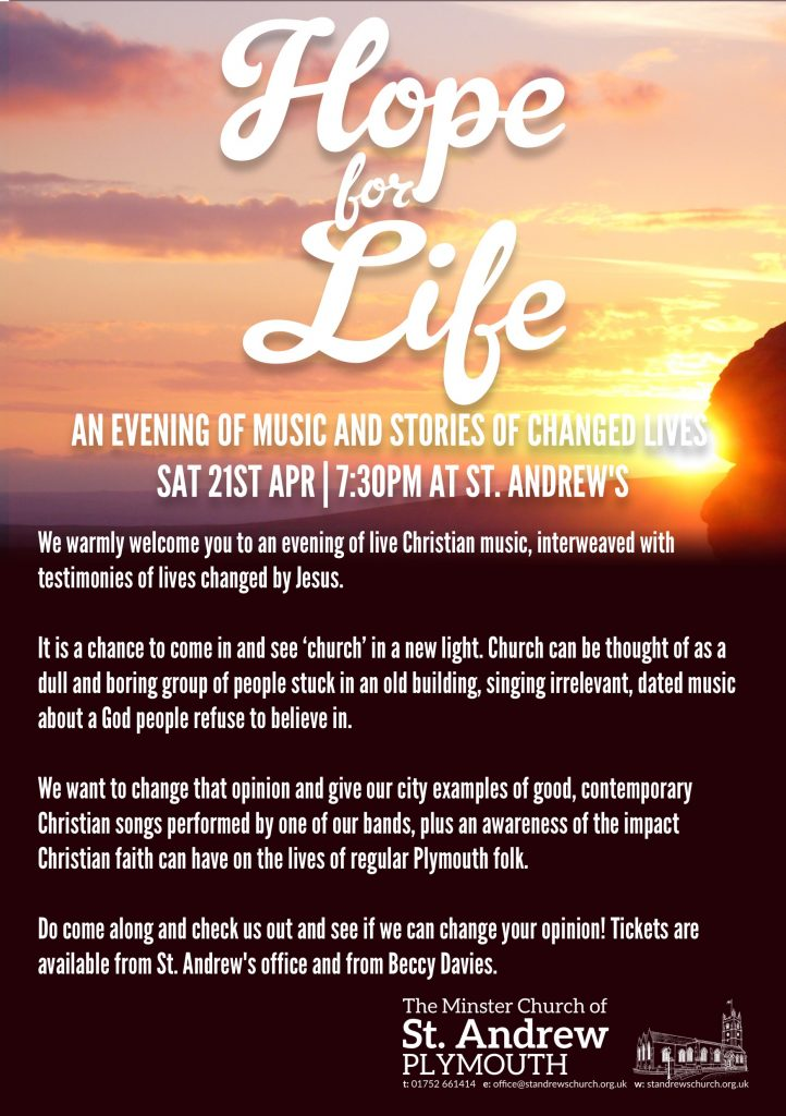 Hope for Life 2018 flyer