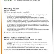 Two Job opportunities at Cornerstone Vision